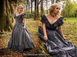 Victorianisches Ballkleid, Krinolinen - Kleid, Biedermeier, staubblau-gold mit Rückenschnürung