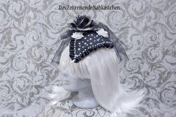 Fascinator, schwarz-mit weißen Perlen, Gothic, Steampunk