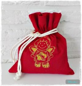 ♡ Säckchen aus Baumwolle bestickt mit einem Engel ♡