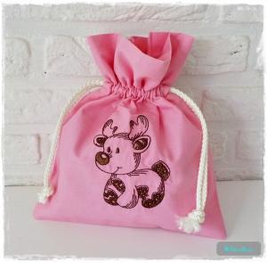 ♡ Säckchen aus Baumwolle bestickt mit einem Rentier ♡