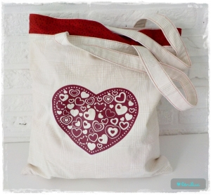 ♡ Kleiner Beutel aus Baumwolle mit Herz ♡