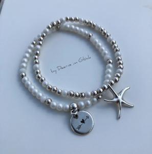 Zweiteiliges Perlen-Armbandset aus Glas- und Silberperlen mit Seestern-Anhänger