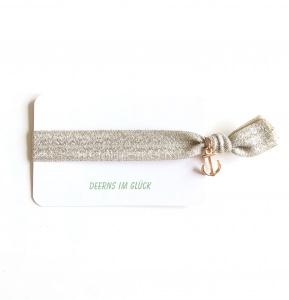 Elastisches Nylon-Glitzerarmband (silber-gold) mit Anker-Anhänger in roségold