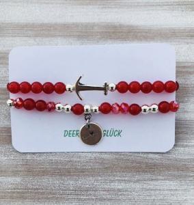 Set aus zwei Perlenarmbändern / Jade- und Glasschliffperlen (rot)