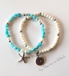 Zweiteiliges Perlen-Armbandset aus wunderschönen Amazonit-Nuggets, Glas- und Silberperlen