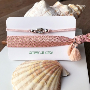 BEACH VIBES - Armbandkombination mit Kauri-Muscheln in light rosé