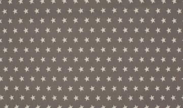 Baumwolle Popeline Sterne taupe/weiß
