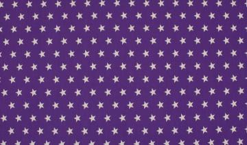 Baumwolle Popeline Sterne lila/weiß