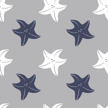 Baumwoll jersey Seesterne grau