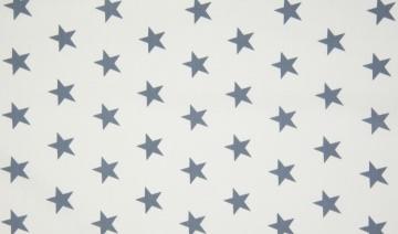 Baumwolle Popeline Sterne groß weiß/grau