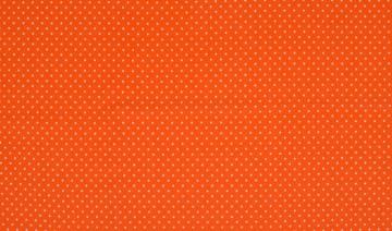 Baumwollejersey Punkte orange/weiß