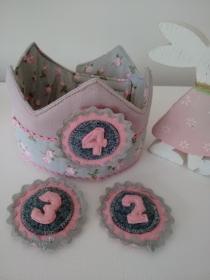 Geburtstagskrone für Mädchen in Rosa&Grau Tönen