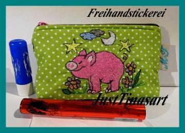 Kosmetiktäschchen, Tatüta, Freihandstickerei, 9 x 15 cm
