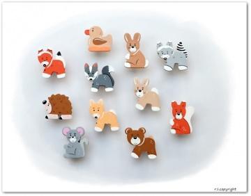 Handgefertigte Möbelgriffe für Kinder  ♡  Waldtiere  ♡