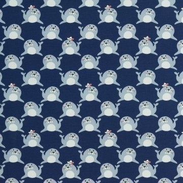 French terry Love the Seals, Seehund, blau, 0,5  m/155 cm          (Kopie id: 100032663)