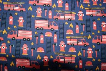 Jersey Feuerwehr, Feuerwehrautos, jeansblau,, 0,5  m/151 cm