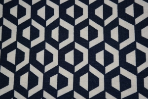 11,00 Euro/m Viskose Jersey grafisches Muster, marine