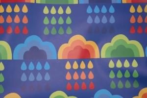 17,00 Euro/m Regenjackenstoff, Retro Wolken, Tropfen ,blau