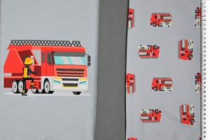 Jersey Panel Feuerwehr, grau, 150 cm* 75cm