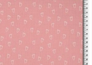 9,90Euro/m  Double Gauze, Musselin Babyfüße, rosa