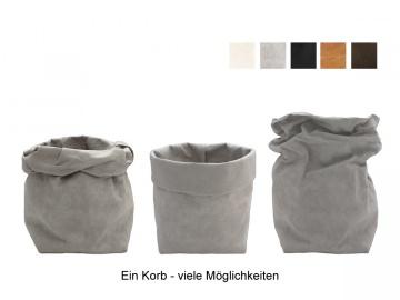 Kleines Körbchen / Utensilo / Korb aus veganem Leder in verschiedenen Farben lieferbar - 10,5x10,5x23cm