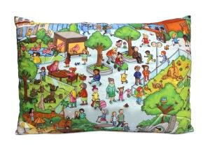 Kissenbezug für Kinder mit Motiv Wimmelbuch Zoo