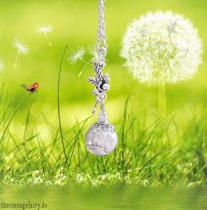 ★ Feenkette ★ Wunschfee ★ Glaskugel gefüllt mit Pusteblumensamen ★