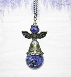 ♥ Phiolenkette ♥ Lavendelfee ♥ Glaskugel gefüllt mit echtem Lavendel ♥