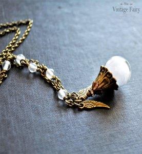 ✰ Halskette ✰ Victorian Angel ✰ Glaskugel gefüllt mit einer Feder ✰