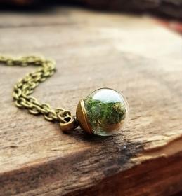 ♧ Mini Mooskugel Halskette ♧ Glaskugelschuck ♧