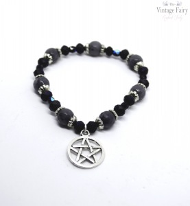 ☽o☾ Perlenarmband Mystic Moon ☽o☾ Pentagram Anhänger ☽o☾