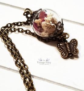 ❀  Echte Blüten Armkette ❀  Glaskugel gefüllt mit Rosenblättern ❀