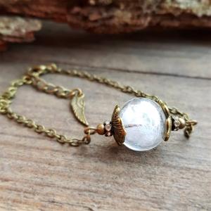 ❤ Armkette  ❤  Glaskugel gefüllt mit einer Feder ❤