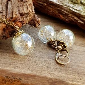 Pusteblumen Schmuckset bronze ,Glaskugelschmuck gefüllt mit echten Pusteblumensamen