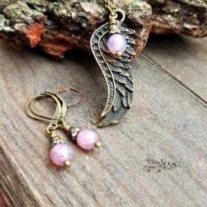Nostalgisches Schmuckset - Flügel mit rosa Opalperle - böhmische Perle -bronze