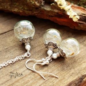 Pusteblumen Schmuckset - 925 Silber - Glaskugelschmuck mit weißer Perle - Make a Wish - Wünsch Dir was