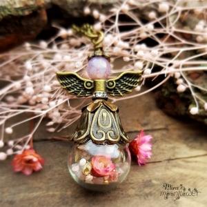 Halskette Blumenfee - Glaskugelschmuck - Getrocknete Blüten und Blumen