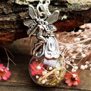 Halskette Blumenfee - Glaskugelkette - Getrocknete Blüten und Blumen - Märchenschmuck