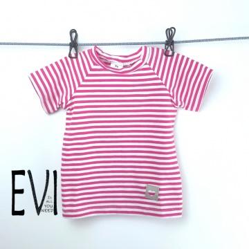 Baby shirt 74/80, T-Shirt, Kinder Shirt, Top, Handmade pink/rosa weiß gestreift aus Baumwolljersey