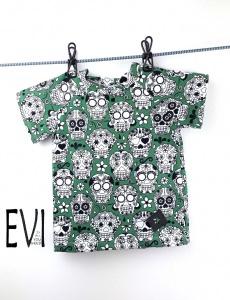 Baby shirt 68/74, T-Shirt, Kinder Shirt, Top, Handmade aus grünem Baumwolljersey mit mexikanischen Totenkopfmuster