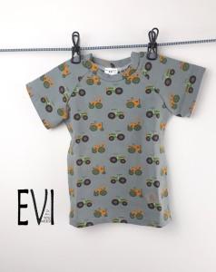 Baby shirt 74/80, T-Shirt, Kinder Shirt, Top, Handmade aus grauen Baumwolljersey mit Traktoren,