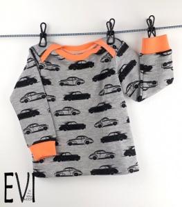 Babypulli 74/80, Pullover, Shirt aus grau melierten kuschelsweat mit Autos