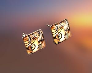 Ohrsteckerpaar, erstellt in Edelstahl, eckig 10x10mm, mal etwas Besonderes kaufen  - Handarbeit kaufen