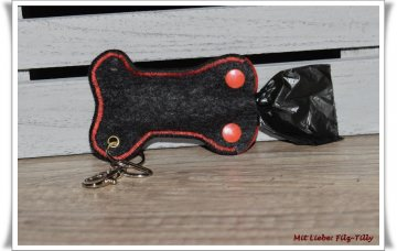 Hundekotbeuteltasche aus Filz / anthrazit mit rot