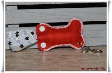Hundekotbeuteltasche aus Filz / rot mit wollweiß (Kopie id: 46818)