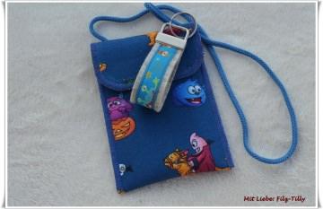 Brustbeutel & Schlüsselanhänger für Kinder / bunte Monster auf blau & weiß (Kopie id: 47121)