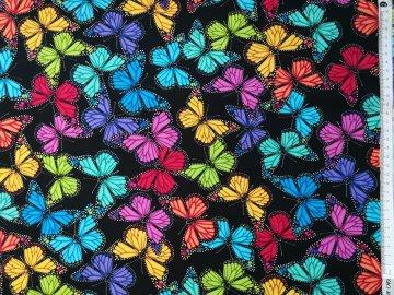 Baumwollstoff in Patchworkqualität schwarz mit bunten Schmetterlingen ✂ 100% Baumwolle ✂ 112cm