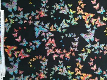 Baumwollstoff in Patchworkqualität schwarz mit bunten Schmetterlingen gold umrandet ✂ 100% Baumwolle ✂ 112cm