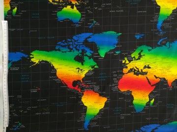 Baumwollstoff in Patchworkqualität schwarz  mit bunter Weltkarte ✂ 100% Baumwolle ✂ 112cm ✂ 0,1m