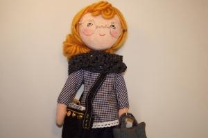 Stoffpuppe aus Naturmaterial, Handgemachte Geschenkpuppe 30 cm, Trio Girls---ANNETTE(Büro)